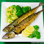 Baked Spicy Mackerel With Potato Salad & Broccoli